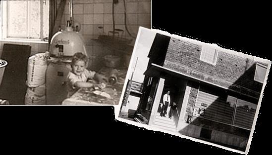 Links: Kinderstube, rechts: Hauptsitz in Aystetten (Rohbau, ca. 1967)